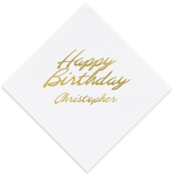 Happy Birthday Luxury AirLaid Napkin - Foil-Pressed