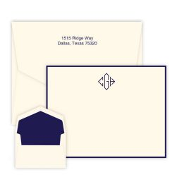 Diamond Monogram Card - Raised Ink
