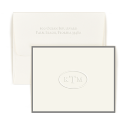 Circle Monogram Note with Border - Single Thick