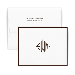 Diamond Monogram Bordered Note - Double Thick