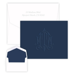 Whitlock Monogram NAVY Note - Embossed