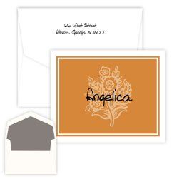Orange Daisy Delicate Folding Note - Digital Print