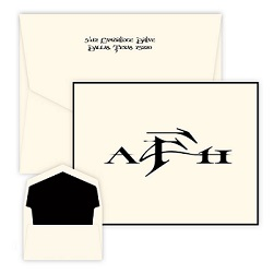 Sand Monogram Oversized Note - Raised Ink