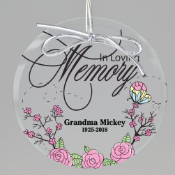 Butterfly Rose Memorial Keepsake Printed Ornament