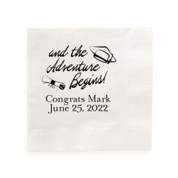 Adventure Begins Graduation Napkin - Foil-Pressed