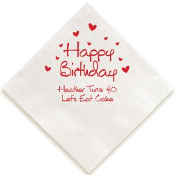 Birthday Heart Napkin - Foil-Pressed