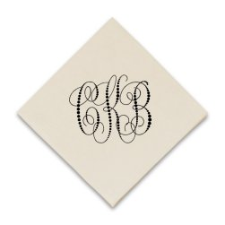 Pearl String Monogram Graphic Napkin - Raised Ink