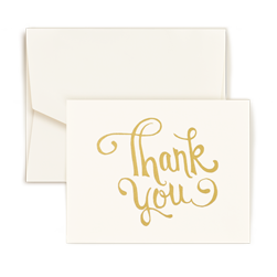 Thank You Script Gold Foil Note - Triple Thick