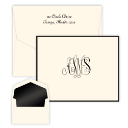 Classic Monogram Bordered Note - Double Thick with Pinnacle Envelopes