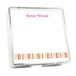 Kelly Stripes Memo Square - White with holder