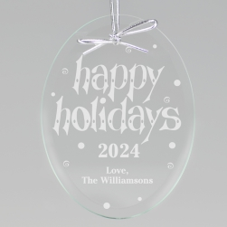 Happy Holidays Keepsake Ornament - Oval