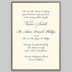 Gold and Navy Minuet Wedding Invitation Card - Raised Ink