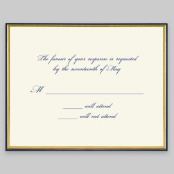 Gold and Navy Minuet Response Card - Raised Ink