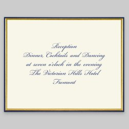 Gold and Navy Minuet Reception Card - Raised Ink