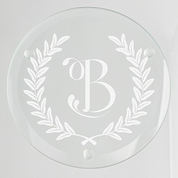 Wheat Leaf Initial Glass Coaster