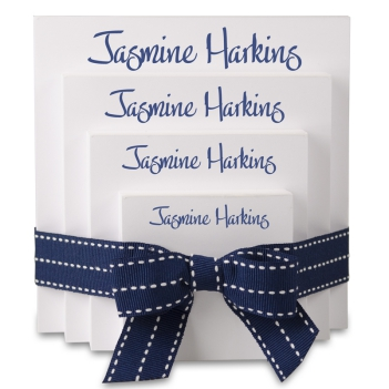 Highland 4-Tablet Set - White with Navy Blue Stitched Ribbon