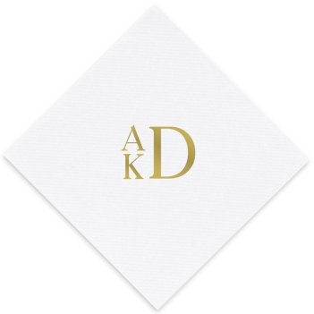 Stacked Monogram Luxury AirLaid Napkin - Foil-Pressed
