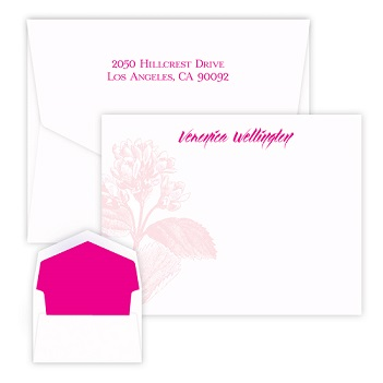 Pink Botanical Card - Raised Ink