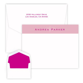 Pink Scroll Delicate Card - Raised Ink