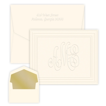 Classic Frame Monogram Note - Embossed