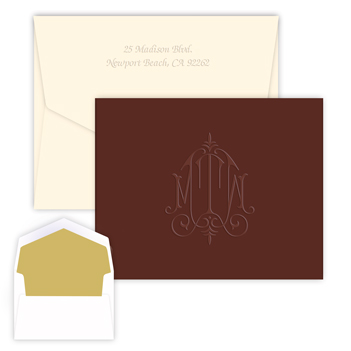 Whitlock Monogram MOCHA Note - Embossed