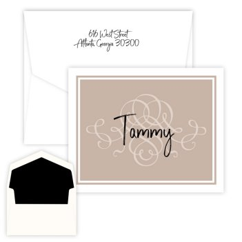 Brown Scroll Delicate Folding Note - Digital Print