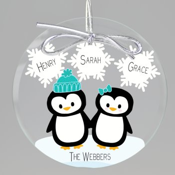 Penguin Love Keepsake Printed Ornament