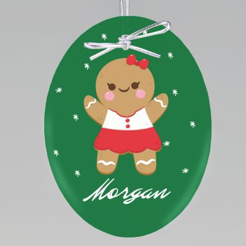 Gingerbread Girl Keepsake Ornament - Oval