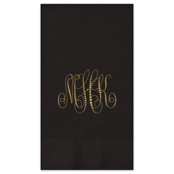 Pearl String Monogram Guest Towel - Foil-Pressed