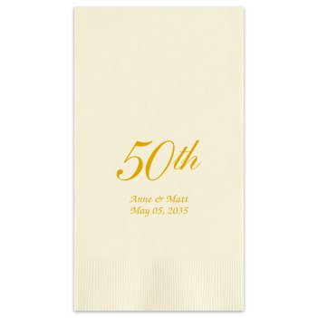 50th Wedding Anniversary Guest Towel - Foil-Pressed