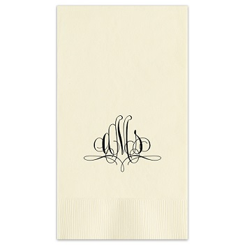 Paris Monogram Guest Towel - Foil-Pressed