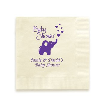 Elephant Showers Baby Napkin - Foil-Pressed