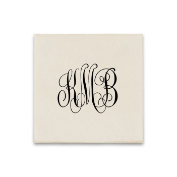 Delavan Monogram Coaster Napkin - Raised Ink