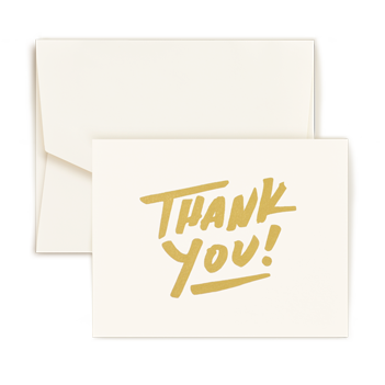 Thank You Gold Foil Note - Triple Thick