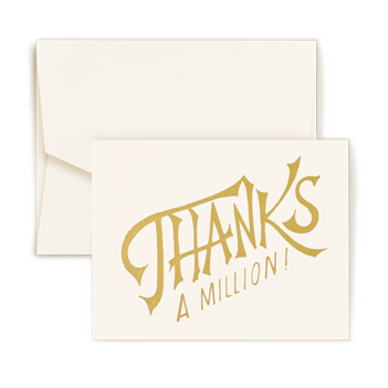 Thanks A Million Gold Foil Note - Triple Thick