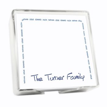 Family Arch Memo Square - White with holder