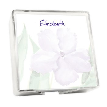 Watercolor Pansy Memo Square - White with holder