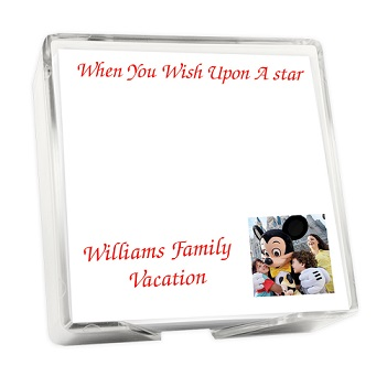 Family Photo Memo Square - White with holder