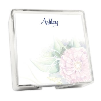 Watercolor Peony Memo Square - White with holder