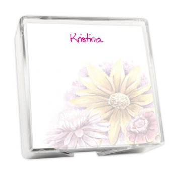 Watercolor Sunflowers Memo Square - White with holder