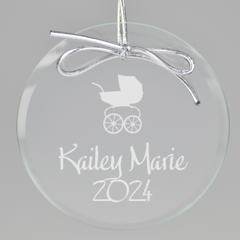 Baby Carriage Keepsake Ornament - Circle