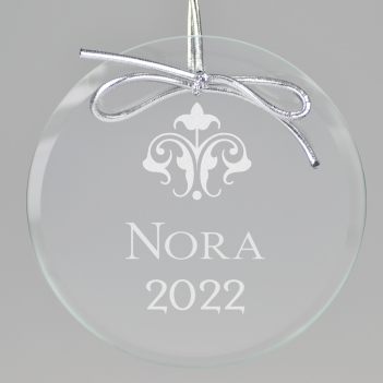 Fleur de Lis Keepsake Ornament - Circle