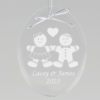Gingerbread Couple Keepsake Ornament - Oval