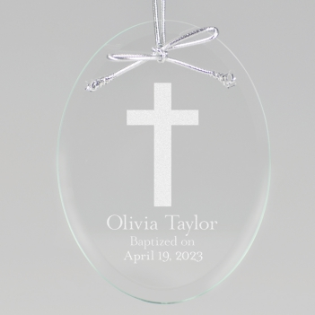 Cross Keepsake Ornament - Oval