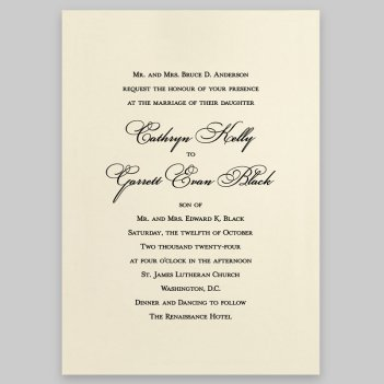 Canvas Wedding Invitation Card - Raised Ink