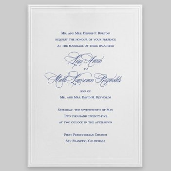 Tradition Wedding Invitation Card - Raised Ink