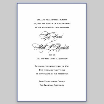 Navy Silhouette Wedding Invitation Card - Raised Ink
