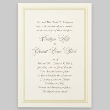 Coventry Wedding Invitation Card - Raised Ink