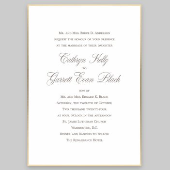 Gold Silhouette Wedding Invitation Card - Raised Ink