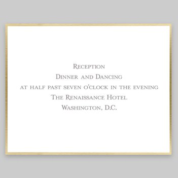 Gold Silhouette Reception Card - Raised Ink